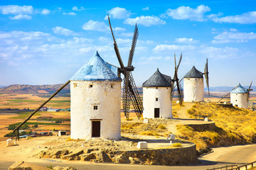 Windmills of Don Quixote in Consuegra. Castile La Mancha, Spain