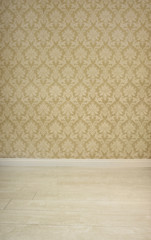 Empty room with vintage wallpaper