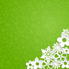 Background with paper flowers, white on green
