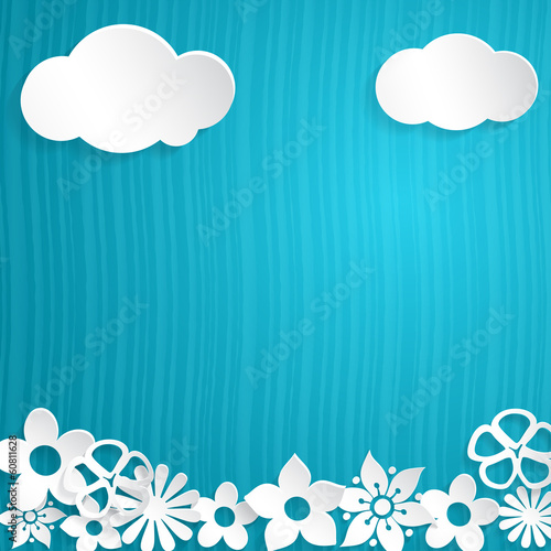 Background with paper flowers and clouds, white on blue