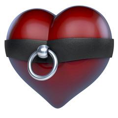 Rotes Herz in Ring der O aus Stahl und Leder