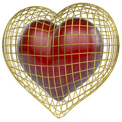 Rotes Herz in goldenem Käfig