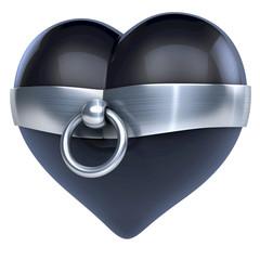Schwarzes Herz (Lack, Latex) in Ring der O
