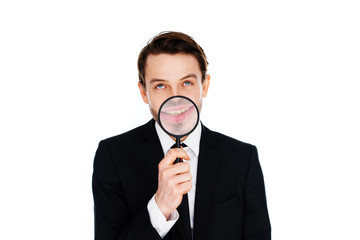 Businessman with a magnified smile
