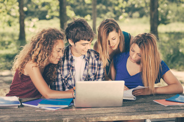 Group of Teenage Students at Park with Computer and Books