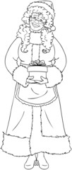 Mrs Santa Claus Holding A Present For Christmas Coloring Page
