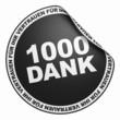 3D Aufkleber Schwarz - 1000 Dank