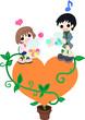 オレンジのハートの上で、女の子と父親がカラフルなキャンディーを交換している。