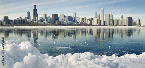 Fotobehang Grote meren Winter panorama of Chicago.