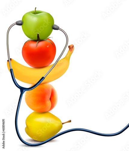 Fruit with a stethoscope. Healthy eating concept. Vector.
