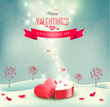 Valentine`s day background with an open red gift box. Vector.