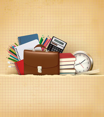 Back to school Background with school supplies and old paper Vec