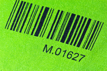 bar code printed  a green cloth