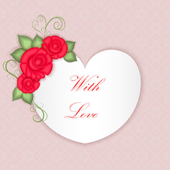 Valentine's day heart shaped card vector template.
