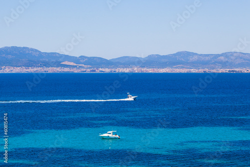 yachts in blue. Mallorca, Spain. Top view