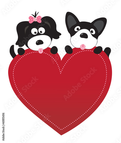 Valentine puppies vector