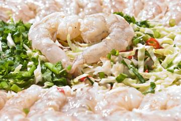 shrimp salad mixing