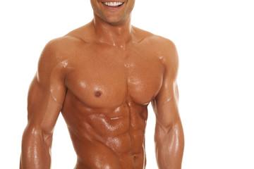 man body shiny chin strong