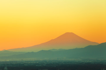 Mountain fuji during sunset