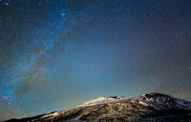 Milky Way above the volcano Etna. Sicily, Italy