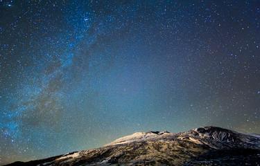 Milky Way above the volcano Etna. Sicily, Italy
