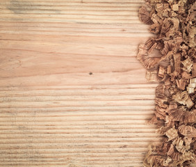 woodchips on fir board