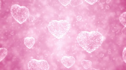 Hearts and particles, Valentine day background