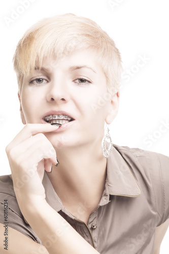 Young Caucasian Woman Wearing Teeth Brackets
