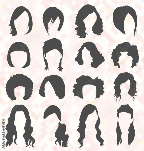 Vector Set: Woman's Hair Style Silhouettes - 60816814