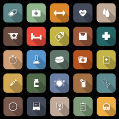 Health flat icons with long shadow