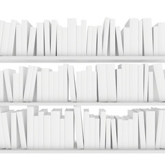 many books standing on white shelf