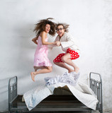 Funny couple in the bed