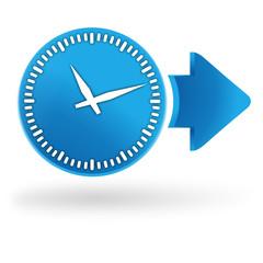 horloge sur symbole web bleu