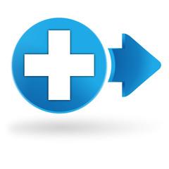 premiers secours sur symbole web bleu