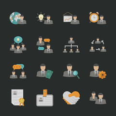 Human resource icons with black background