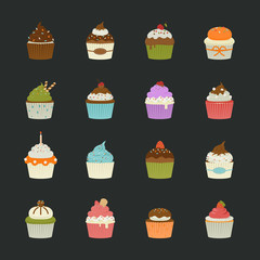 Sweet cupcakes icons