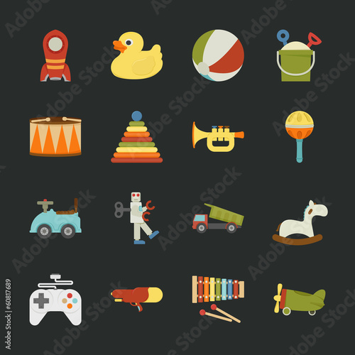 Toy icons , flat design