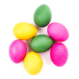 Colorful Easter Eggs isolated on white background close up. Pret