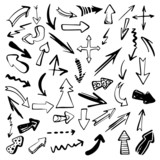 Set hand drawn doodle arrows black silhouette isolated