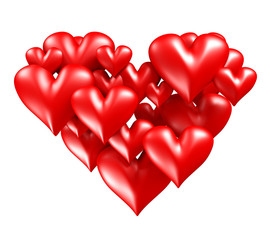 Red hearts in heart shape