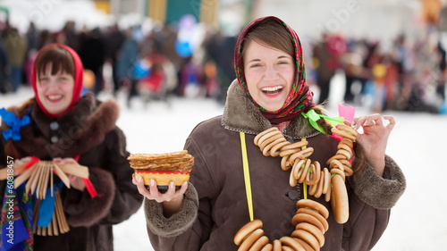 girls celebrating  Pancake Week at Russia