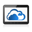 Cloud networking concept: Cloud on tablet pc computer