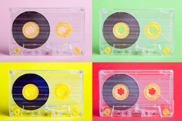 four audio cassettes on difrent backgrounds - collage