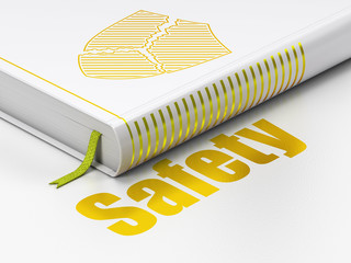 Privacy concept: book Broken Shield, Safety on white background