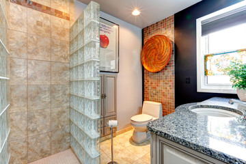 Bright bathroom with open shower