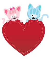 Valentine kitties vector