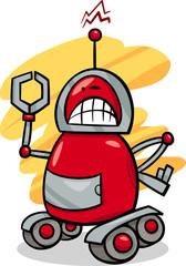 angry robot cartoon illustration