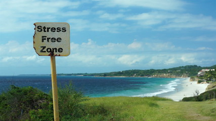 Beach Sign Stress Free Zone
