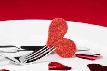 valentine day dinner series on red background