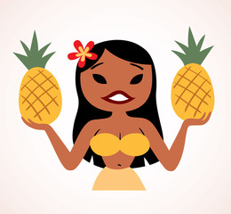 pretty pineapple hula girl